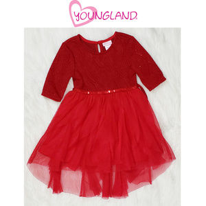 Youngland Christmas Holiday Red Dress 3T